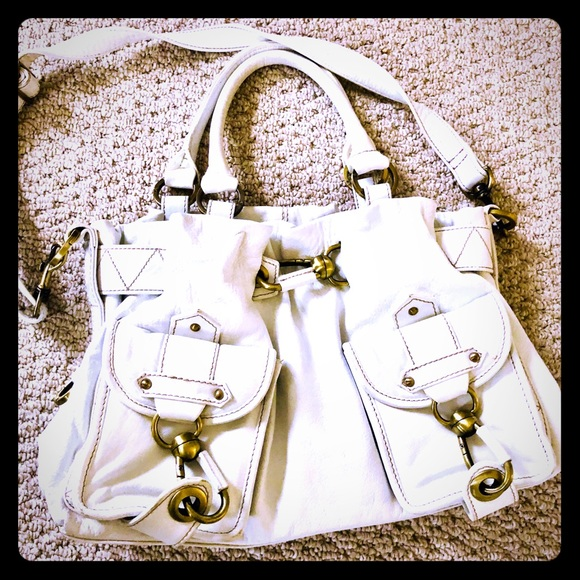 Handbags - White leather satchel and shoulder bag